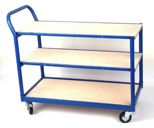 Transportwagen Professional 250 KG, Tischwagen 3 Böden, 100x50 cm, RAL 5017 blau