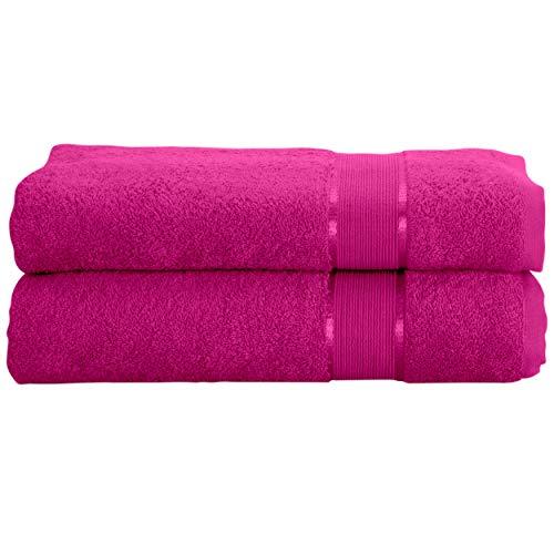Mixibaby Juego de 2 toallas para invitados, ducha, baño, sauna, algodón, 500 g/m², tamaño: 30 x 50 cm, color: rosa y violeta