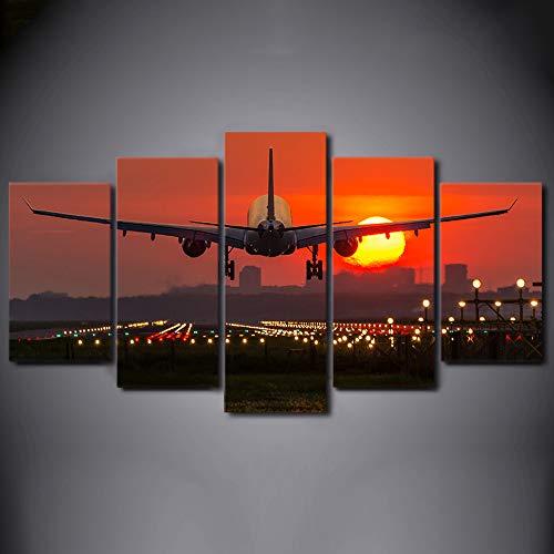 YANGMAN Vliegtuig Canvas Wall Art 5 Stuk Commercieel Vliegtuig bij Zonsondergang Vliegende Foto Print op Canvas voor Moderne Office Home Decoraties Beeld