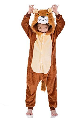 ABYED® Einhorn Kostüm Jumpsuit Onesie Tier Fasching Karneval Halloween kostüm Damen mädchen Herren Kinder Unisex Cosplay Schlafanzug, Löwe, Größe 125 - für Höhe: 136-145 cm (9-11 Jahre)