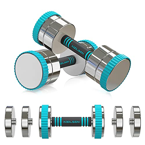 KOOLSEN Adjustable Dumbbells Weight Set, 44 lbs Adjustable Dumbbell Pair for Men and Women with Anti-Slip Handle, All-Purpose, Home, Gym, Office...