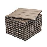 Decko Pack of 10 Composite Wood Brown Decking Interlocking Tiles with Woodgrain Effect 30cm x 30cm Juego de 10 baldosas plástico compuestas, Color marrón, con Efecto de Vetas de Madera, 30 x 30 cm