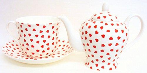 Love Hearts Ensemble à thé en porcelaine fine Motif cœurs Rouge Individuels Petit Déjeuner/Thé de 1 théière 1 grande tasse 1 Soucoupe décoré à la main au Royaume-Uni Livraison gratuite au Royaume-Uni