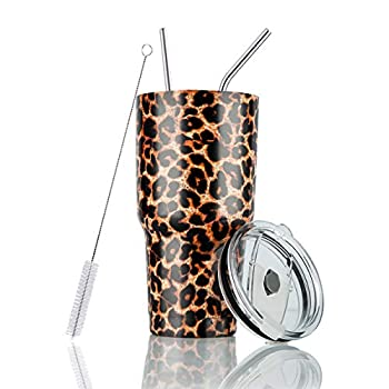 Joyclub 30oz Leopard Tumbler Stainless Steel Double Wall Vacuum Insulated Tumbler Cup Travel Mug with Lid Straw and Cleaning Brush for Cold and Hot Drinks  Cheetah Print