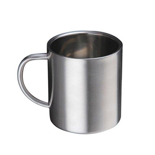 MagiDeal Bierkrug, Edelstahl Kaffeetasse, Tee/Bier/Kaffee/Latte/Milch Tasse, Edelstahl Becher Mit Griff für Reise Wandern - Silber, 300ml