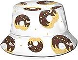 Cartoon Sloth on Donut Flat Top Unisex Sombrero de Pescador Gorras al Aire Libre para Viajes Playa Protección Solar Gorra de Pescador Chocolate Donut 1 Bucket Hat Verano Sombrero de Pescador