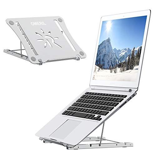"""OMERIL Soporte Ordenador Portátil 12 Ángulos Adjustable, Soporte Portatil Mesa de Aleación de Aluminio+Acero Inoxidable+Silicona, Laptop Stand Plegable para Laptop, PC, Tableta, Macbook y Otros 9-17"""""""
