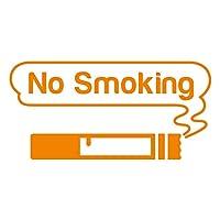 imoninn 禁煙ステッカー(ノースモーキング/No Smoking) カッティングステッカー 横幅15cm 【ゴシック体】(オレンジ色)