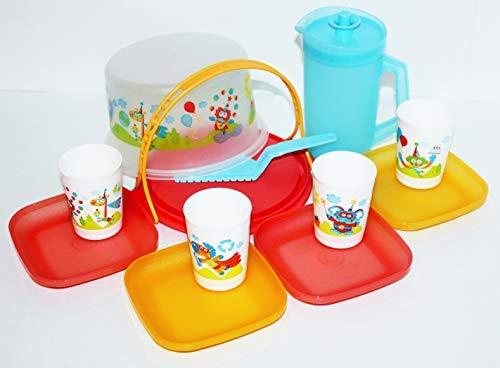 Tupperware Super Heroes Animals Mini CAKE Tea PARTY Serving Set NEW