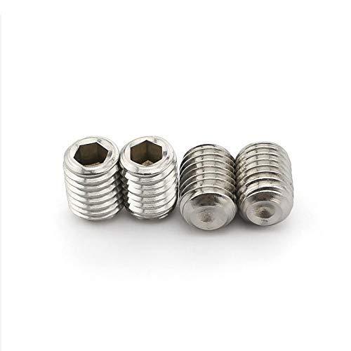 APcjerp Juego de tornillos hexagonales de acero inoxidable de 50 M1.6 M2 M2.5 M3 M4 M5 DIN916 grado 304 grado 12.9 (color: acero inoxidable, tamaño: 2,5 mm)