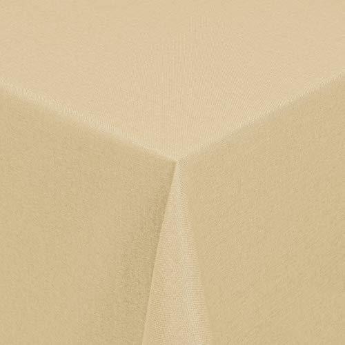 Leinen Optik Tischdecke Tischtuch Tafeldecke Leinendecke Abwaschbar Wasserabweisend Eckig 130 x 340 cm Champagner Fleckschutz Pflegeleicht mit Saumrand Leinentuch