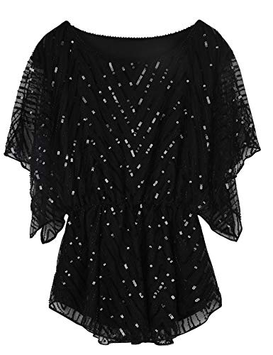 PrettyGuide Women's Sequin Blouse Tops Glitter Beaded Evening Formal Party Dressy Tops Black US8