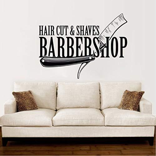 Hwhz 57X42 Cm Barbershop Vinyl Wandtattoo Hair Cut Shaves Stylist Wandaufkleber Friseursalon Dekoration Barber Shop Fenster Vinyl Aufkleber