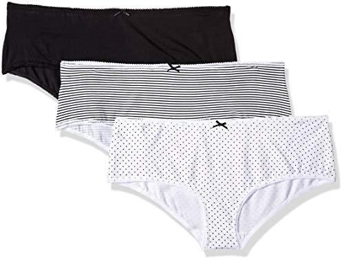 Marca Amazon - Iris & Lilly Calzoncillo Bajo Punto Mujer, Pack de 3, Multicolor (Black/Print), XXL, Label: XXL