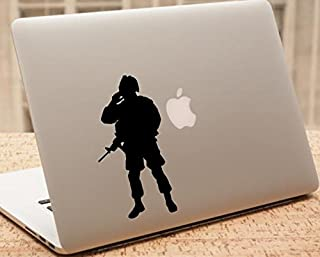 Decal - Soldier Car Decal - Soldier Military Silhouette MacBook Laptop Decal - SOLCD5 (6