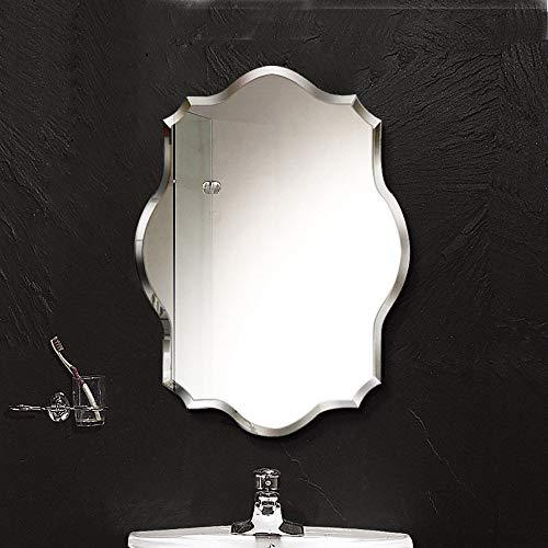 QJJML Muebles Espejo BañO, Espejo Pared Sin Marco con Bordes Biselados, Espejo De Pared De BañO CláSico Simple De Vanidad De Vidrio,para Sala De Estar,Comedor De Pasillo,60×80CM