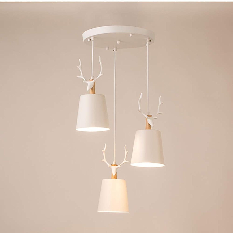 Elegent Modernes minimalistisches Kunstwohnzimmer des nordischen Restaurantkronleuchers, das drei Persnlichkeit kreatives Geweihbeleuchtungs-Rotwildkopfleuchter-Massivholz-Harzeisenhandwerk verbiegt,