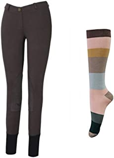 TuffRider Women Starter Lowrise Pull On Breeches with Free Assorted Striped Socks | Knee Patch | Horse Riding Pants | Equestrian Apparel