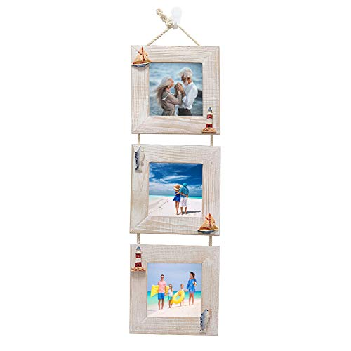 MUAMAX 4''x4'' Triple Picture Photo Frames Set of 3 Collage Samll Rustic Picture Frames Rustic Home Décor, Rustic Grey
