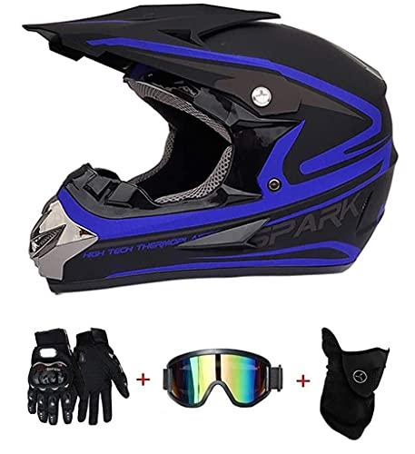 Juego de 4 piezas de casco de motocicleta con máscara resistente al viento, guantes de protección para casco de moto para niños y jóvenes, aprobado por DOT (color: azul, tamaño: L)