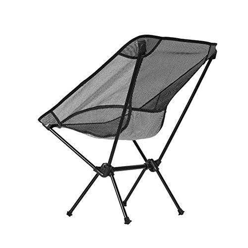 DAGUAI Silla Plegable al Aire Libre portátil Lightweight Aleación de Aluminio Aleación de Luna Silla de Pesca Multifuncional Silla de Ocio para Acampar barbacoas (Color : Black)