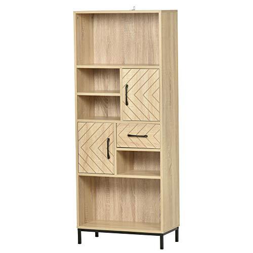 homcom Scaffale Libreria da Parete con Ante e Cassetti in Legno, Design Moderno, 60 x 30 x 150cm