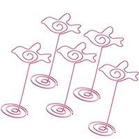メモクリップ 写真ホルダー 装飾品 メタル 金属線 ピンク ギフト 全6スタイル - 鳥