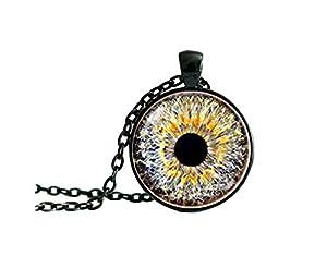 Augen-Halskette, Eyeball-Anhänger, Augen-Halskette, graues Auge, Augen-Schmuck, Augen-Anhänger