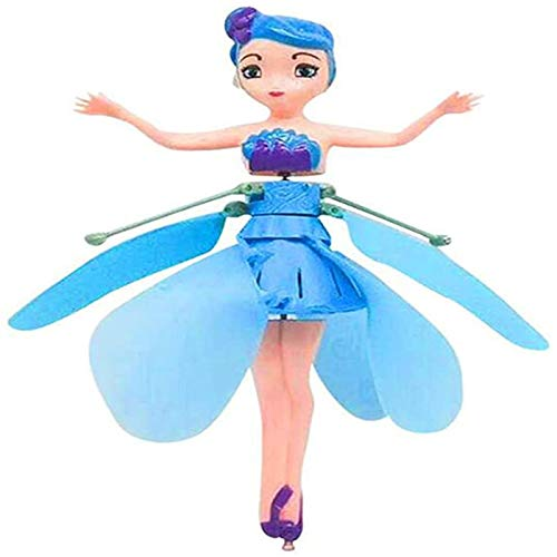 YFASJ Flying Fairy Girls Toy Doll,Infrared Induction Control Toys,Child Toy Flying Princess Doll Flying Fairy Toys for Girls (Blue)