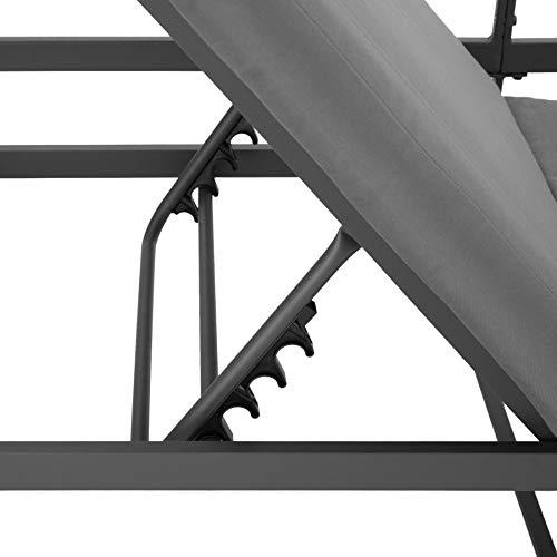 TecTake 403903 Aluminium Sitzgruppe für Garten, Balkon und Terrasse, wetterfest, 6-Fach verstellbare Rückenlehne, inkl. weiche Sitz- und Rückenkissen, grau - 3