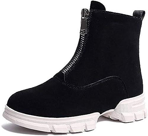 IWxez Bottes habillées pour Dames Bottes d'hiver en Daim Talon Plat à Bout Rond Bottines Bottines Noires