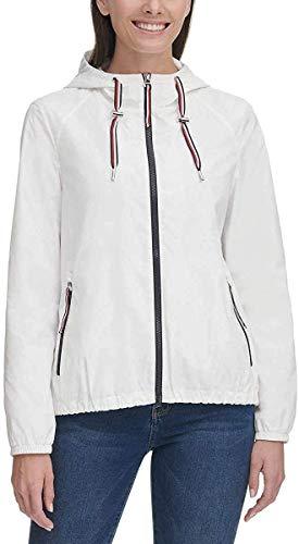 Tommy Hilfiger Womens Windbreaker Jacket (White, Large)