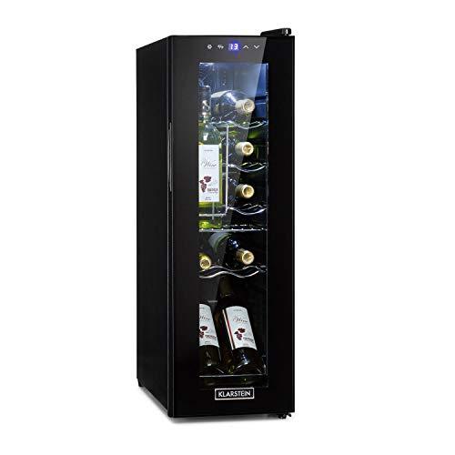 Klarstein Shiraz - Weinkühlschrank 5-18 °C, 42 dB, Soft-Touch-Bedienfeld, Weinschrank mit LED-Beleuchtung, wine fridge freistehend, 3 Regaleinschübe, 32 Liter, für 12 Flaschen Wein, schwarz