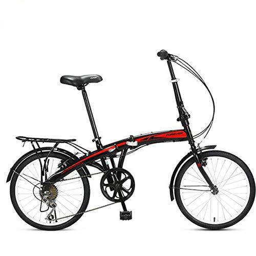 WPY Bicicleta de Plegable con Ruedas de 20 Pulgadas, Marco de Acero de Alto Carbono, Unisex Adulto, Bicicleta Plegable Urbana para Transporte en Coche, autobús