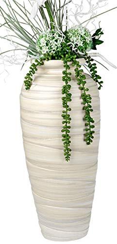 Lifestyle & More Moderne Deko Vase Blumenvase Bodenvase aus Keramik Creme/braun Höhe 50 cm