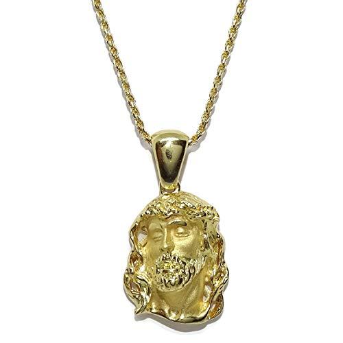 Never Say Never Cara De Cristo Pequeña De Oro Amarillo De 18K Con Cordón Salomónico De 1.5Mm De Ancho De Oro Macizo Amarillo De 18K De 60Cm De Largo. 14.90Gr De Oro De 18K