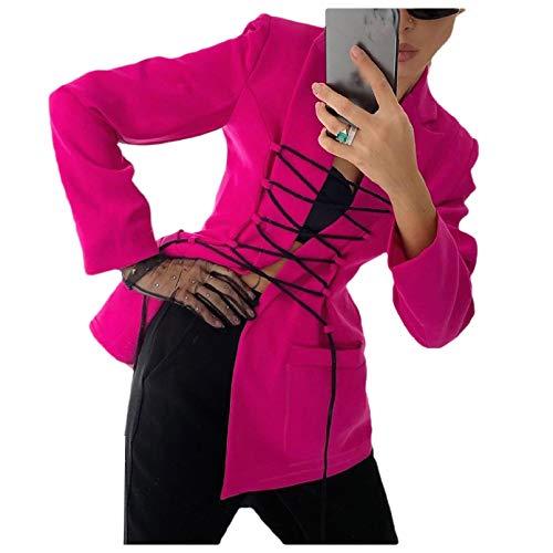 CuteRose Women Fit Notch Lapel Lace Up Detail Trendy Blazer for Office Wear Rose Red M