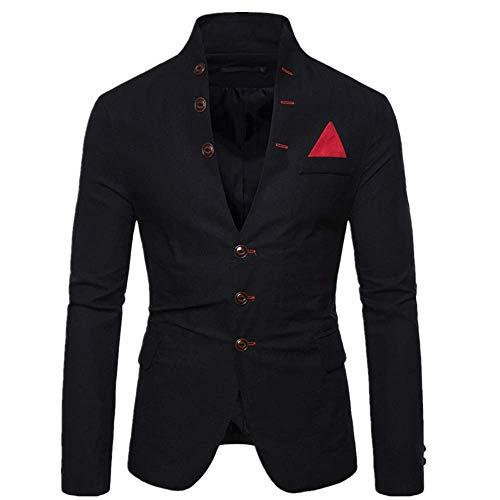 F_Gotal Men's Casual Suit Blazer Jackets Lightweight Sports Coats One Button Jacket Coats Business Lapel Suit Black