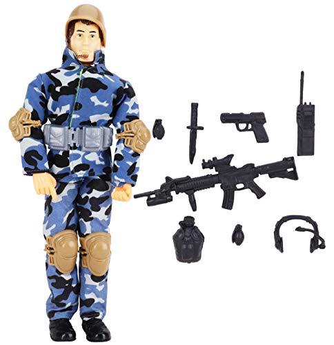 """Il regalo perfetto per il tuo bambino o ragazza. Le sue articolazioni si muovono - proprio come un vero soldato! Il personaggio d'azione è alto circa 12 """"/ 30 cm. Viene fornito con una gamma di armi e accessori - il colore e il contenuto possono vari..."""