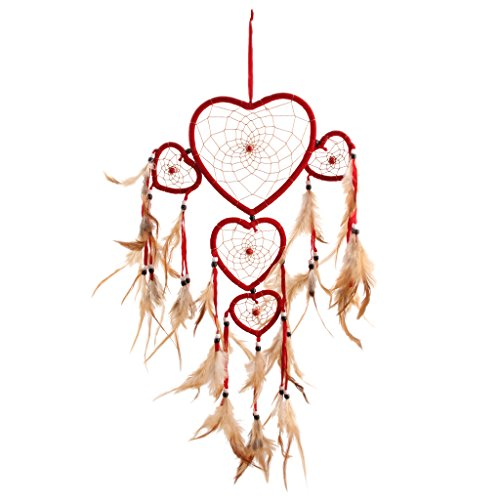 Gazechimp Attrape-rêves Coeur Rouge Plume Dream Catcher Décoration Murale Maison