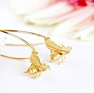 Gold Tone Hoop Earrings With Little Bee Charms