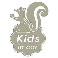 imoninn KIDS in car ステッカー 【シンプル版】 No.36 リスさん (グレー色)