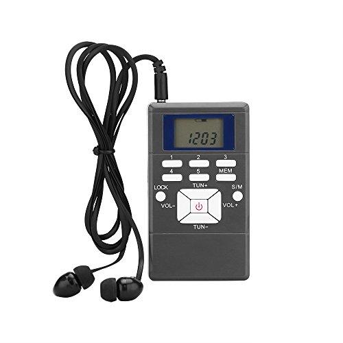Radio de bolsillo FM, radio portátil de sintonización digital FM con batería y pantalla LCD y auriculares para caminar (gris)
