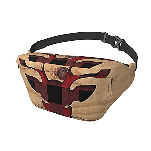 Red Black Buffalo Check Plaid Deer Head Old Barn Wood Sling Bag Fanny Pack Crossbody Shoulder Backpack for Men Women Lightweight Casual Chest Bags Waist Daypack for Travel Gym Sport Hiking Cycling