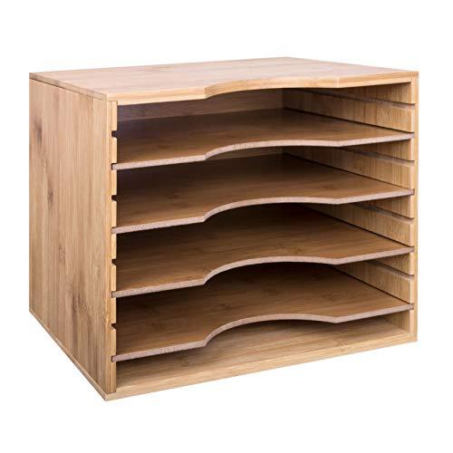 Woodluv Briefablage/Ablagefächer, 5Ablagen, Ablagetrennwände versetzbar, A4-Dokumente/-Papier, Organizer, Bürobedarf