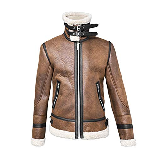 Mäns läderjacka med ståkrage jacka övergångsjacka biker läderjacka äkta läder konstläder bomull fårskinn flygjacka vinterjacka konstläder fodrad vintage jacka