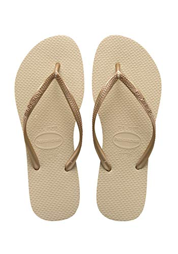 Havaianas Women's Slim Sandal,Sand Grey/ Light Gold,37/38 BR (7-8 M US)