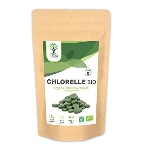 Chlorella Bio - Bioptimal - Complément Alimentaire - Protéine - Vitamine B12 - Superaliment - Conditionné en France - Certifié Ecocert (150 comprimés)