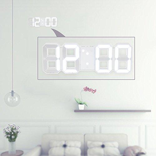 Decdeal - Multifunktionale Digitale LED-Wanduhr 12H/24H mit Alarm und Schlummer-Funktion, einstellbare Leuchtstärke weiß