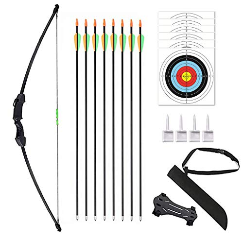 """Vogbel 45"""" Archery Bow and Arrow Set Youth Longbow Outdoor Hunting Gift Toy Beginner Bow Kit 18 Lb for Teens Kids Right/Left Handed(Black)"""